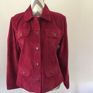 "Chico""s Red Leather Suede Jacket Size L"